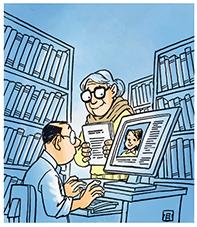 wanita kacamata di perpustakaan