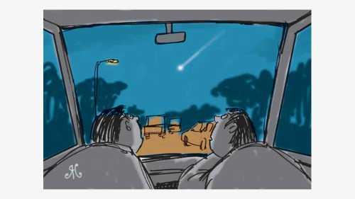 berkendara mobil dua pria lihat meteor jatuh
