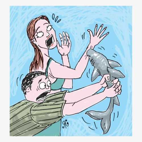 cewek takut ikan hiu