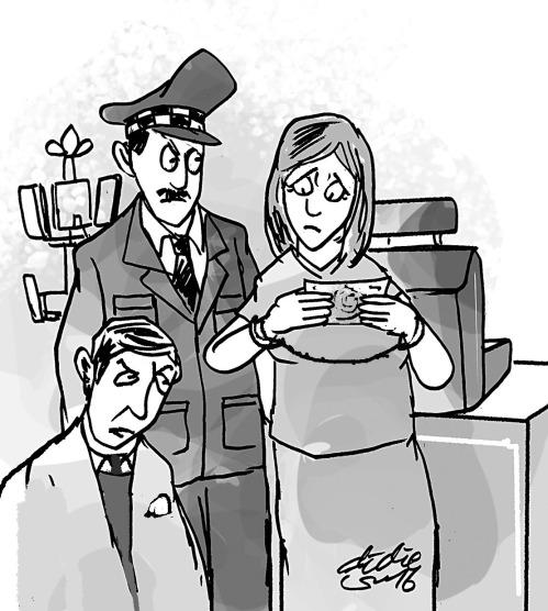 Kasir meneliti keaslian uang 100 dollar AS yang ternyata palsu diterima dari