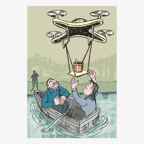 minta tolong drone di atas perahu