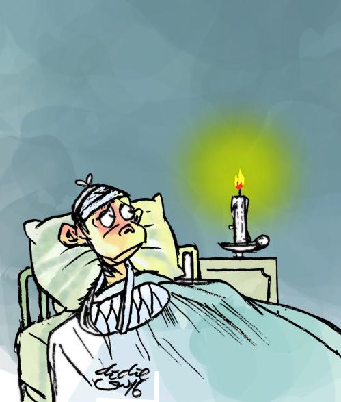 pasien sakit ditemani nyala lilin