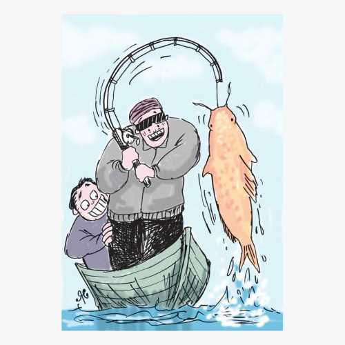 pria mancing di perahu dpt ikan gede