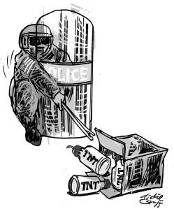 Ilustrasi Didie SW, petugas keamanan menjinakkan tiga granat dalam kotak bungkusan.