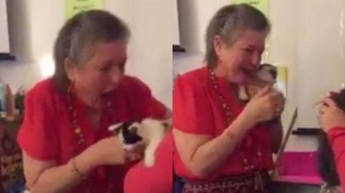 Ibu guru Tonya Andrews menerima sepasang anak kucing warna belang hitam dari empat murid wanitanya. Tonya Andrews terharu menangis menerima pemberian tulus dari muridnya di saat dirinya juga sedih memikirkan kematian kucing kesayangannya. Image by Twitter.