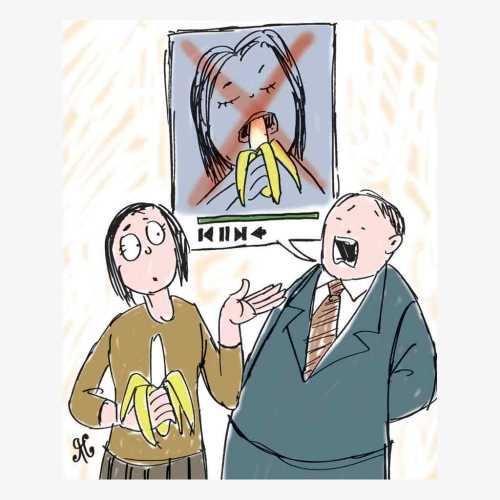 wanita dilarang makan pisang di tv