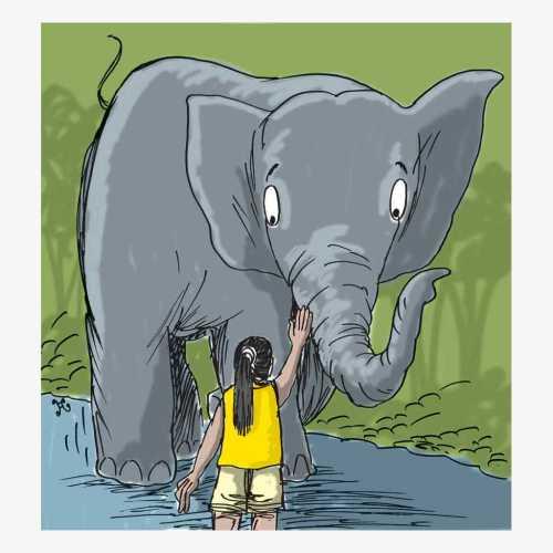 Gadis cilik berkaus kuning dengan berani menghalu si gajah masuk kembali ke dalam hutan. Ilustrasi : Handining.