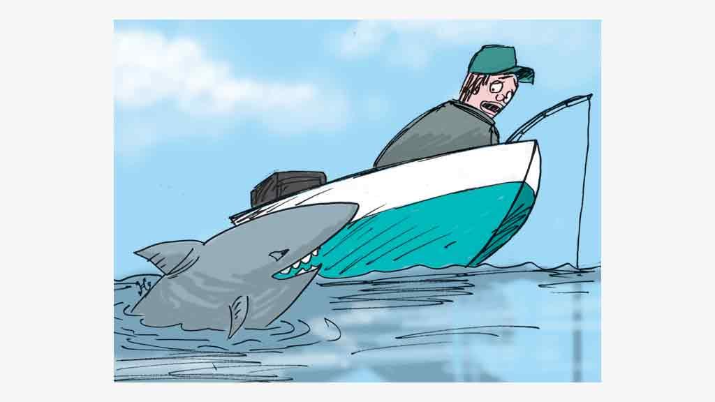 Mark Davis sedang memancing di atas perahu. Ia kaget begitu melihat hiu putih menyerangnya. Ilustrasi : Handining.