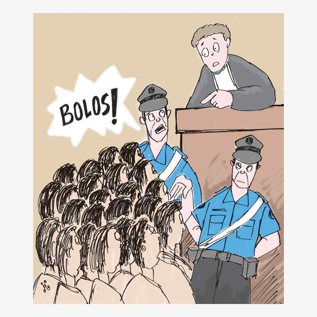 Wali kota Boscotrecase jengkel pada pegawai negerai yang rame-rame bolos. Ilustrasi : Handining.