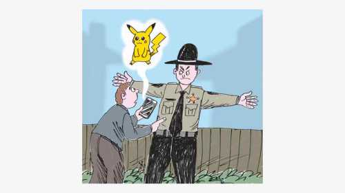 Sheriff merentangkan kedua tangannya melarang pemain Pokemon masuk ke wilayahnya. Ilustrasi Handining.