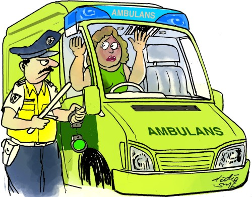 Lisa Carr akhrinya tertangkap polisi saat mengemudi mobil ambulans yang dia curi dari rumah sakit. Ilustrasi : Didie SW.