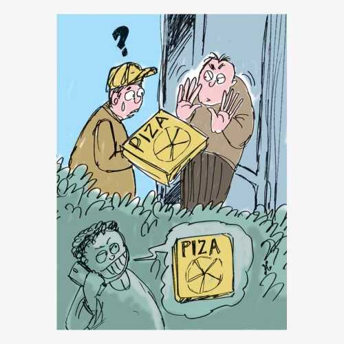 Randy Riddle membuat panggilan palsu ke gerai piza agar diantar ke pemesan, padahal sebenarnya tidak pesan. Ilustrasi : Handining.