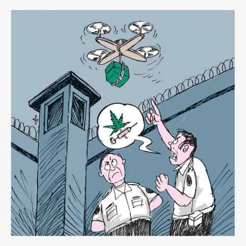 Ada saja akal pencandu narkoba untuk mendapatkan narkoba. Bekerja sama dengan sindikat narkoba, pesawat drone digunakan untuk menyelundupkan paket narkoba ke Penjara Pentonville. Ilustrasi : Handining.