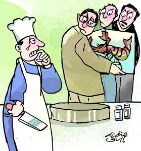 Koki gagal memasak udang raksasa. Ilustrasi : Didie SW.