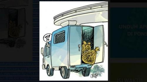 Pintu belakang truk terbuka, tas isi uang jatuh ke jalan. Ilustrasi