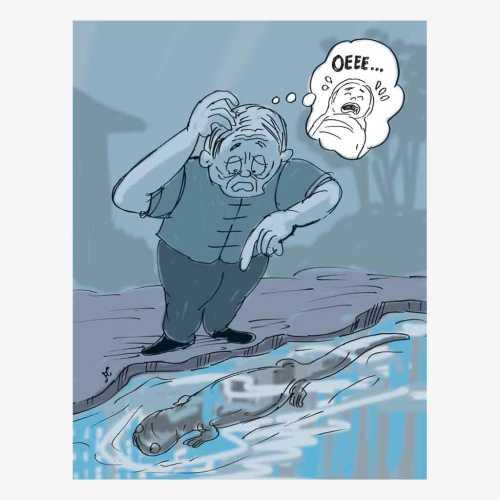 Zhu Jianrong mendengar tangisan salamander di pinggir sungai. Dia mengira suara tangisan itu bayi yang dibuang orang tuanya. Ilustrasi : Handining.