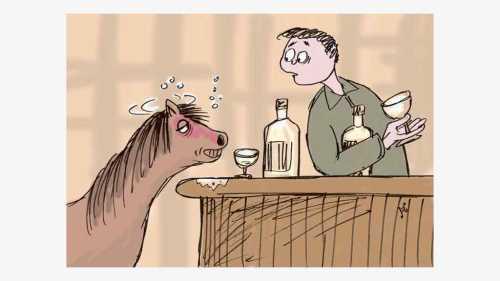 Mocha kuda poni suka minum wisky gratis di bar The Ascot Arms. Ilustrasi : Handining.