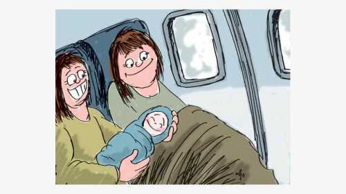 Melahirkan bayi di pesawat. Ilustrasi : Handining.