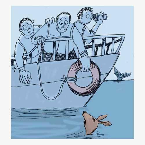 Benson menolong rusa kutub yang timbul tenggelam dari perahu