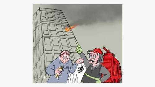 Penghuni apartemen ingin membunuh kecoa dengan semprotan api, tapi malah membakar apartemen yang dia tempati. Ilustrasi : Handining.