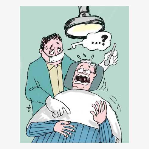 Setelah cabut gigi pada dokter langganannya, Janus Pawlowicz, masuk rumah sakit karena sakit perut. Setelah diperiksa ternyata ada benda asing dalam perutnya. Ilustrasi : Handining.