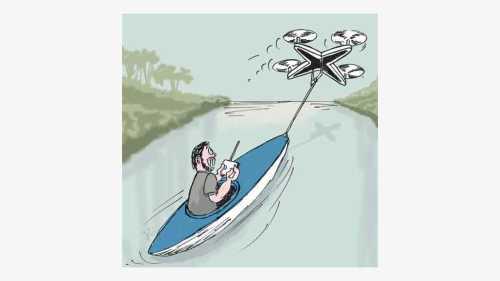 David Freiheit tak kurang akal saat naik kayak. Agar tak capai mendayung, dia memanfaatkan drone untuk menarik perahu kayaknya di Danau kawasan Montreal Kanada. Ilustrasi : Handining.