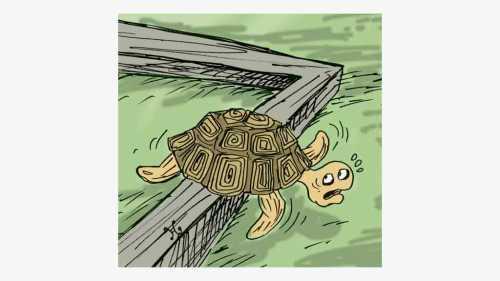Khoopa berusaha melepaskan diri dari hambatan balok kayu yang menghadangnya. Ilustrasi : Handining.