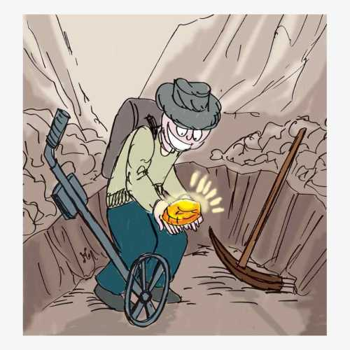 Petambang tradisional Victoria Australia menemukan bongkahan emas saat tengah menggali lubang dia areal penambangan dengan menggunakan detektor logam. Ilustrasi : Handining.
