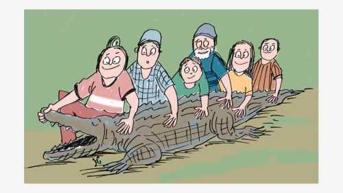 Tiffany Wienke wanita pemberani dan timnya berhasil menangkap buaya raksasa di Sungai Missisippekat Port Gibson. Ilustrasi : Handining.