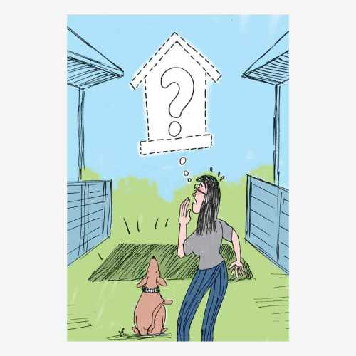 Rumah mungil milik Malinda Crichton hilang dari tempatnya, saat ia sedang bepergian dengan anjingnya. Ilustrasi : Handining.
