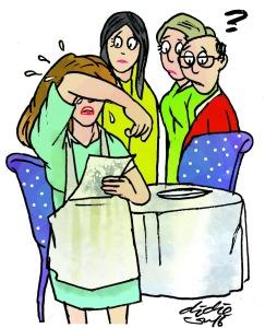 Rence yang bertugas melayani pembeli di restoran tempat dia bekerja, menangis tersedu saat menerima tip nasihat pelanggan. Tip tulisan pelanggan berbunyi, sebagai wanita lebih baik tinggal di rumah, mengurus suami dan anak, daripada bekerja di luar rumah. Ilustrasi : Didie SW.
