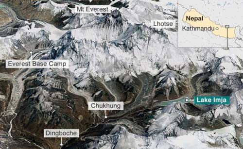 Peta pegunungan Himalaya.