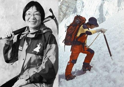 Junko Tabei saat mendaki puncak Gunung Everest.