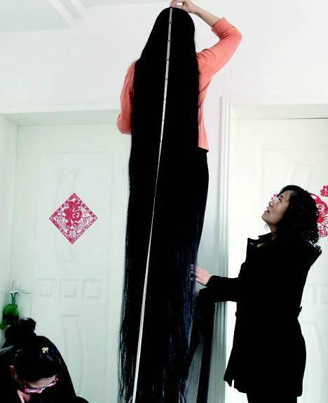 Untuk mengukur panjang rambutnya, terpaksa meminta bantuan puterinya, Ms. Ni's