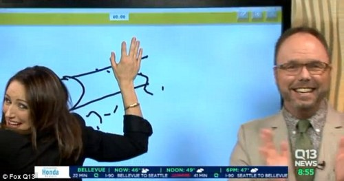 Tanpa sadar Kaci Aitchison presenter berita televisi terus menggambar benda aneh mirip kelamin laki-laki.