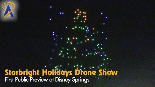 menunjukkan publik pertama dari Starbright Liburan drone pertunjukan di Disney Springs