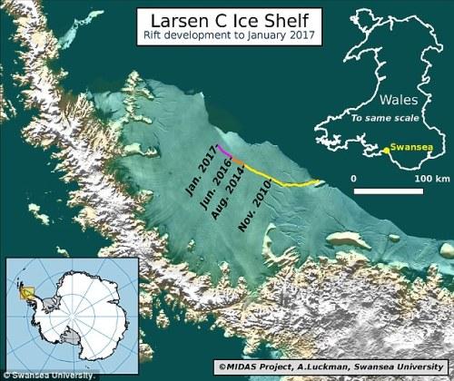 keretakan ini cenderung mengarah ke gunung es putus, yang akan menghapus sekitar 10 persen dari daerah beting es ini. Dalam foto adalah grafis tentang bagaimana keretakan telah berkembang selama bertahun-tahun