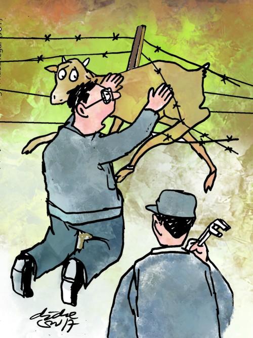 Ilustrasi Didie SW, rusa liar terbelit tali pagar kawat, berusaha melepaskan diri dari jeratan.