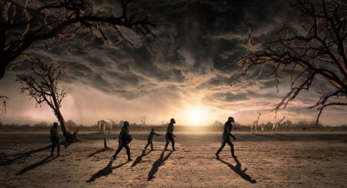 Manusia purba berimigrasi secara kelompok untuk mencari makanan.