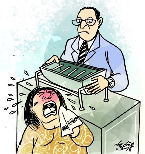 Barang kenangan suaminya, berupa alat pemanggang kue terpaksa dihibahkan ke museum gagal total. Ilustrasi : Didie SW.